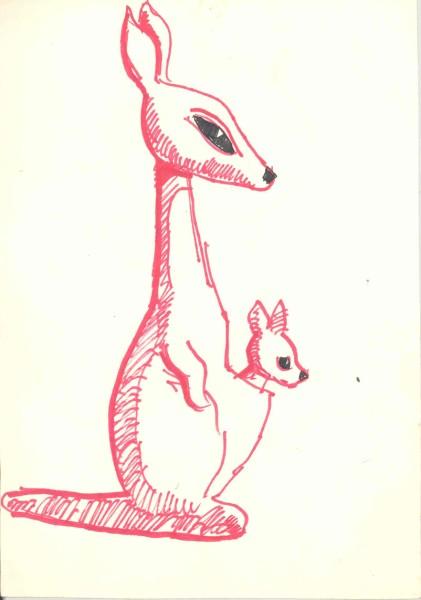 Рисунок кенгуру с детенышем, выглядывающим из сумки