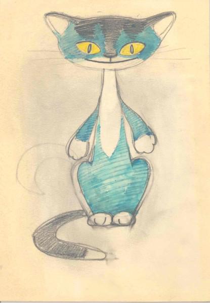 Рисунок голубого кота