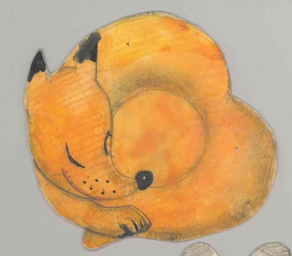 Рисунок лисы, свернувшейся клубочком