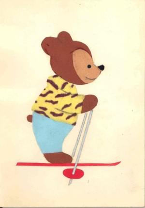 Рисунок мишки на лыжах
