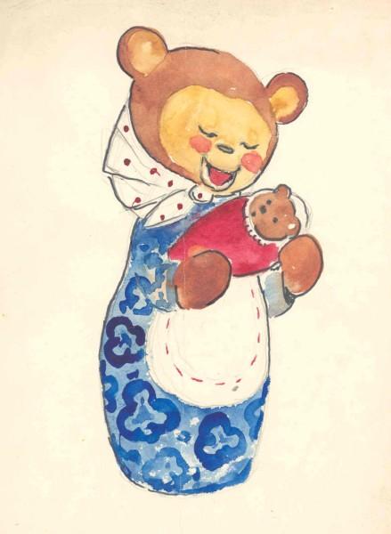Рисунок мишки в женской одежде и косынке с малеьнким медвежонком в виде младенца