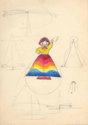 Эскиз девушки в радужном платье (волчок)