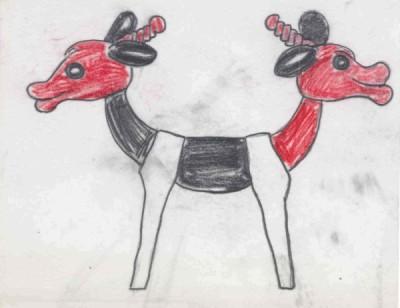 Рисунок козленка с двумя головами на концах